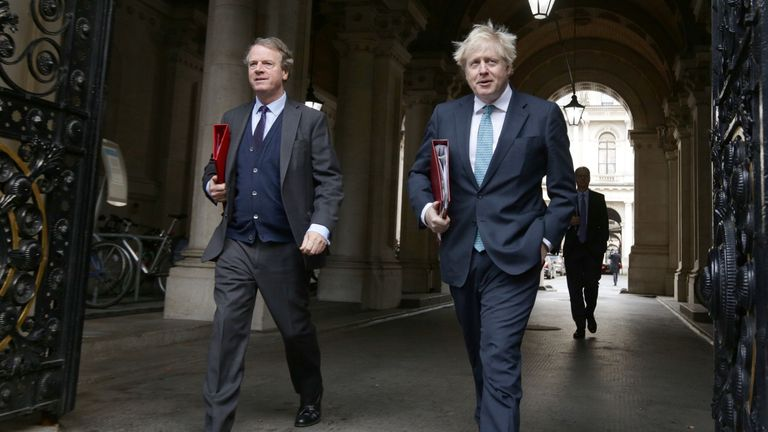 Prime Minister Boris Johnson, with Scottish Secretary Alister Jack, returning to Downing Street, London, after attending the government's weekly Cabinet meeting at the Foreign and Commonwealth Office (FCO)