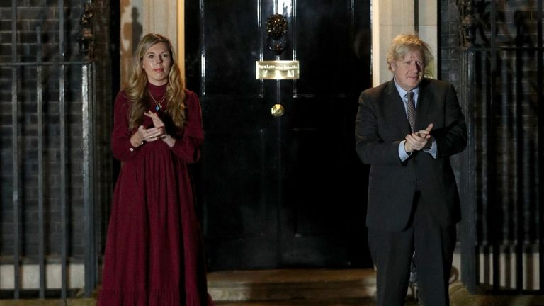Boris Johnson and Carrie Symonds clap for Captain Sir Tom Moore
