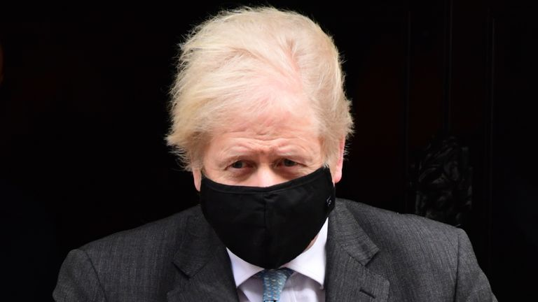 Prime Minister Boris Johnson leaves 10 Downing Street to attend Prime Minister's Questions at the Houses of Parliament