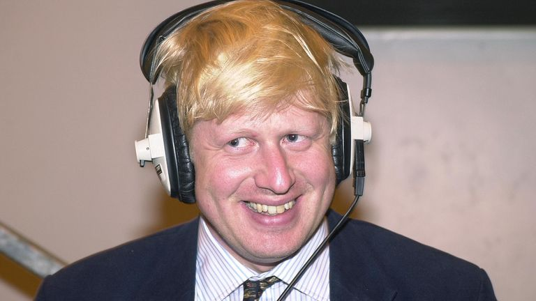 Journalist Boris Johnson during a radio broadcast, at the count in Watlington, Oxfordshire, after winning the Henley seat for the Conservatives in the 2001 General Election