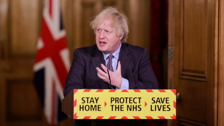 Boris Johnson at COVID news briefing. Pic: No 10