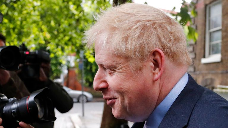 Conservative politician Boris Johnson leaves his flat in London, Tuesday, June 11, 2019. Britain's Conservative Party is holding an election to replace Prime Minister Theresa May, who resigned last week after failing to lead Britain out of the European Union on schedule. Former Foreign Minister Boris Johnson is currently the bookies favorite to replace May. (AP Photo/Frank Augstein)