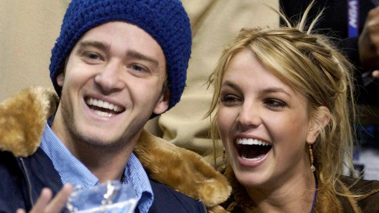 Britney Spears and Justin Timberlake at the 2002 NBA All-Star game at the Philadelphia Convention Center