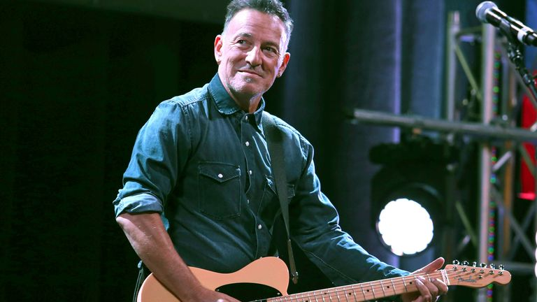 Bruce Springsteen performs at Stand Up For Heroes, presented by the New York Comedy Festival and the Bob Woodruff Foundation, at The Theater at Madison Square Garden on Tuesday, Nov. 1, 2016. Pic: AP