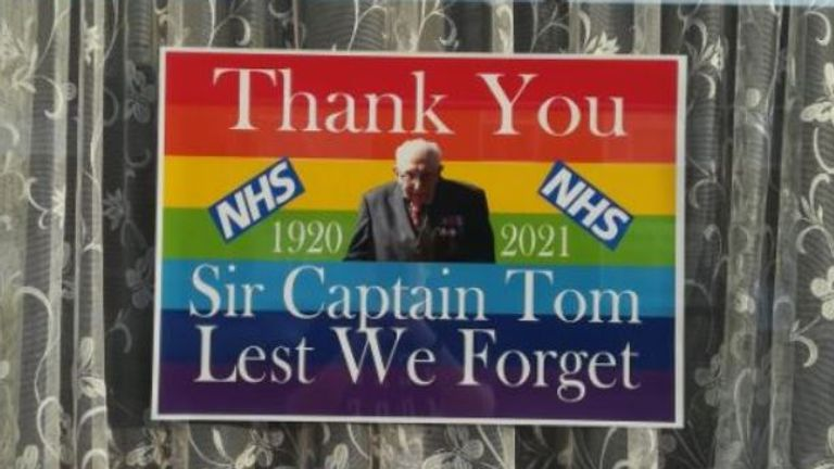 Tributes have been paid to Captain Sir Tom, who touched people around the world. Pic: @Kupokuponut/Twitter
