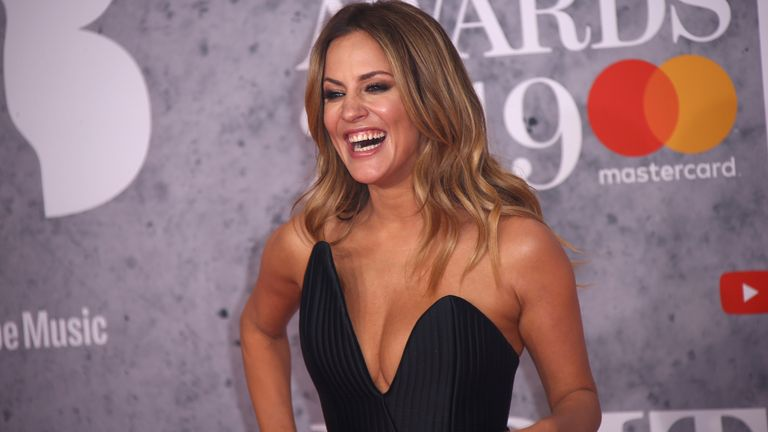 Caroline Flack at the Brit Awards in London in 2019. Pic: AP