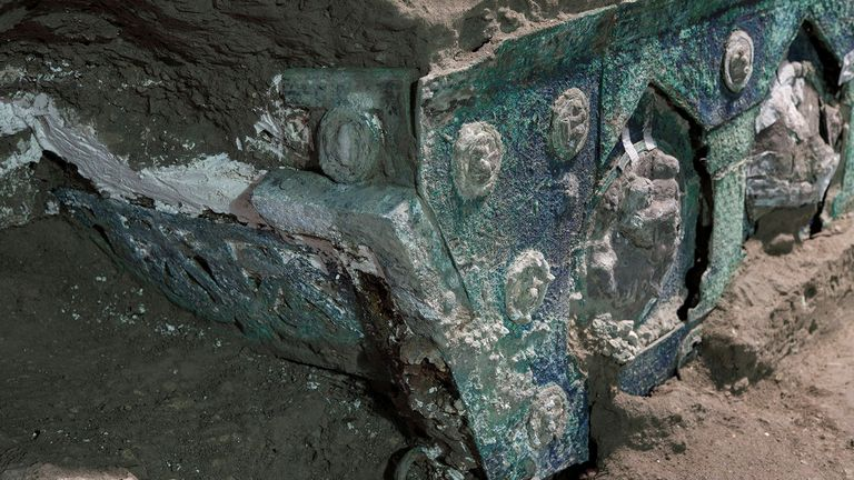 The ceremonial chariot, which is largely made of iron, has been hailed as an 'exceptional discovery'