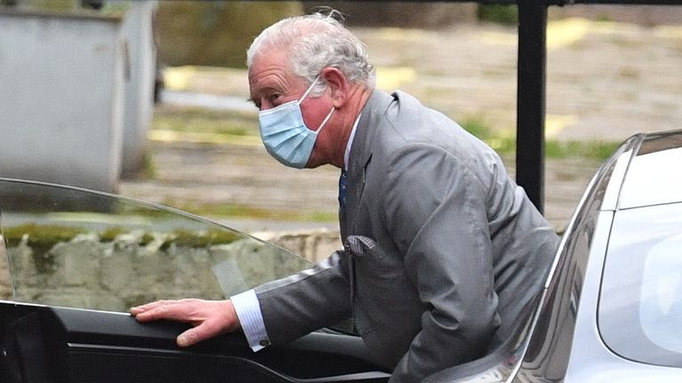 Prince Charles arrives at the King Edward VII Hospital in London to visit the Duke of Edinburgh