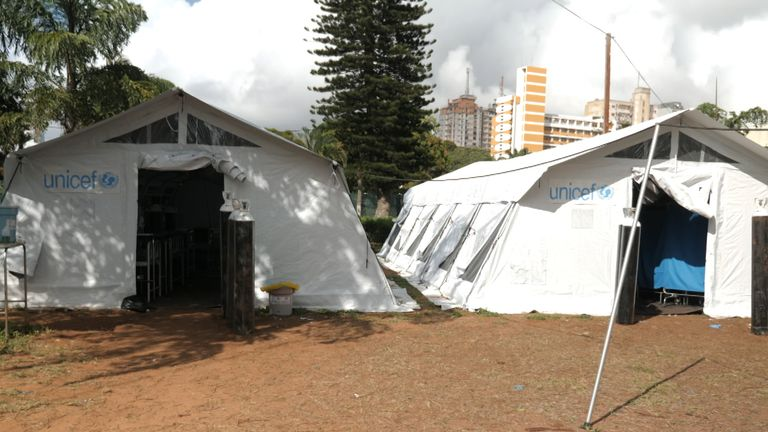 Covid treatment tents, Hospital Central de Maputo, Mozambique