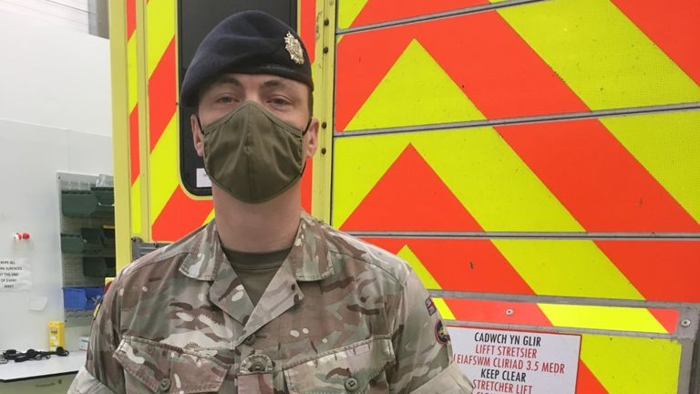 Private Jason Perkins of the Royal Logistics Corps in deployment with Welsh Ambulance Service in north Wales