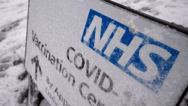 The NHS Covid-19 vaccination centre at the Jobserve Community Stadium in Colchester, which has been forced to close due to the weather, with heavy snow set to bring disruption to south-east England and East Anglia as bitterly cold winds grip much of the nation.
