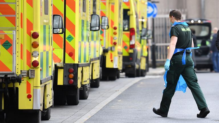 File photo dated 12/01/21 of ambulances at Whitechapel hospital in London. More than one in three ambulance staff have had Covid-19 – mainly catching it while at work, according to new research.