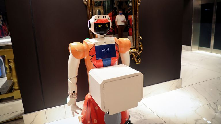 If the hotel receives a guest with COVID-19 symptoms, the robots could be deployed instead of people as a precaution.