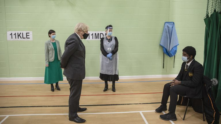 Prime minister Boris Johnson visits testing facilities at a school in south London this week