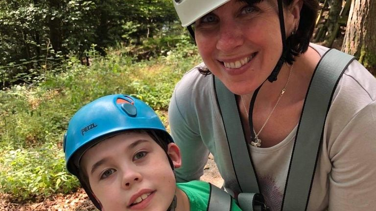 Oliver Voysey, pictured with mum Sarah, describes the centre near Keswick as his 'happy place'