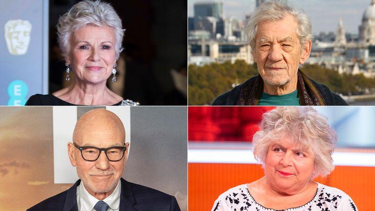 Dame Julie Walters, Sir Ian McKellen, Miriam Margolyes and Sir Patrick Stewart. Pics: AP/Ken McKay/ITV/Shutterstock