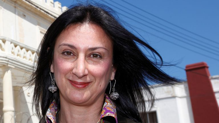 Maltese investigative journalist Daphne Caruana Galizia poses outside the Libyan Embassy in Balzan, Malta April 6, 2011