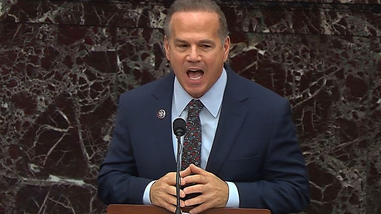 In this image from video, Rep. David Cicilline, D-R.I., speaks during the second impeachment trial of former President Donald Trump in the Senate at the U.S. Capitol in Washington, Thursday, Feb. 11, 2021. (Senate Television via AP)