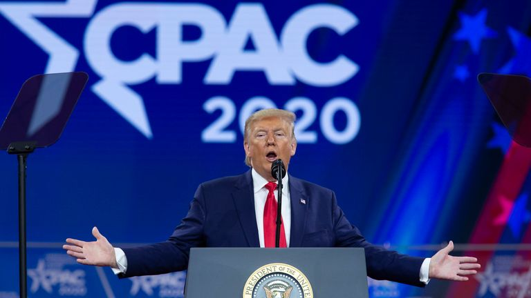 Donald Trump addresses the Conservative Political Action Conference in 2020. Pic: AP