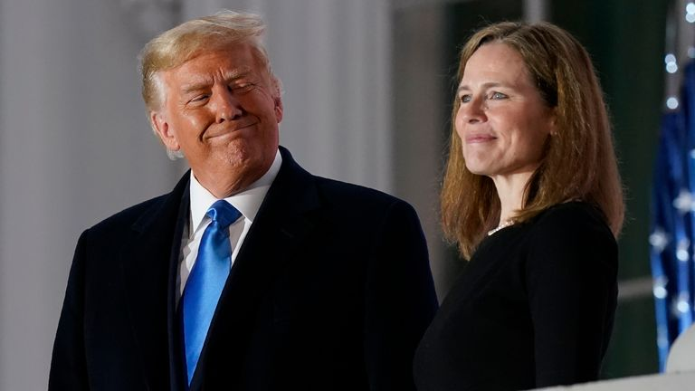 Amy Coney Barrett, who was controversially appointed by Donald Trump, broke with the right-wing faction on the Supreme Court. Pic: AP