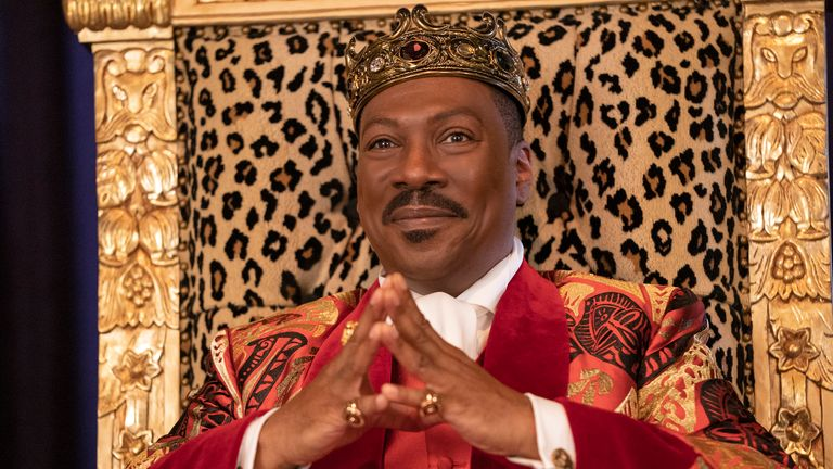 Eddie Murphy is back on the throne as Prince Akeem Joffer after over 30 years in Coming 2 America. Pic: Amazon Studios