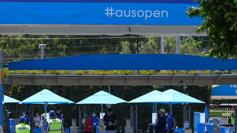 Entry gates for Australian Open. Pic: AP