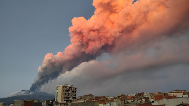 A view of the Mount Etna eruption spewing ash, as seen from Paterno, Italy, in this image obtained from social media dated February 16, 2021. LUIGI SENNA/via REUTERS THIS IMAGE HAS BEEN SUPPLIED BY A THIRD PARTY. MANDATORY CREDIT. NO RESALES. NO ARCHIVES.