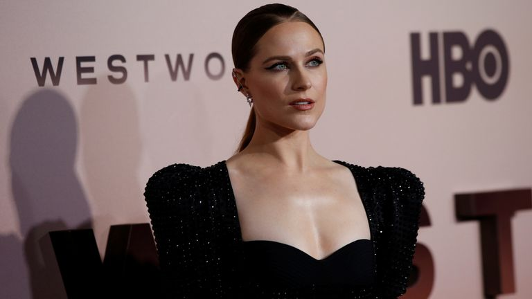 Cast member Evan Rachel Wood poses at the premiere for season 3 of Westworld in Los Angeles, California, March 2020
