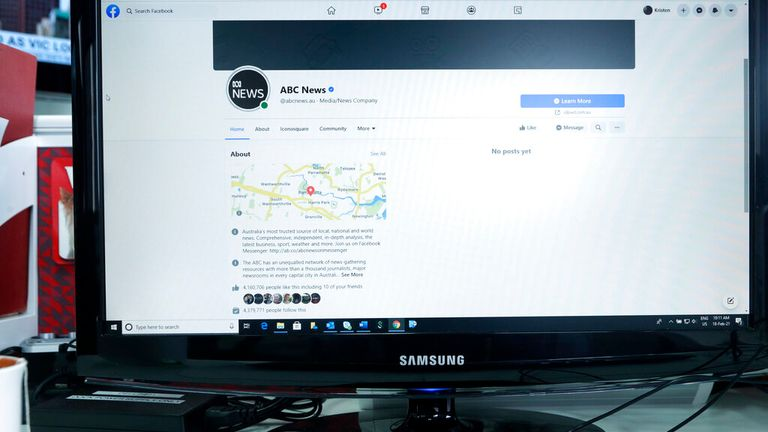 An Australian Broadcasting Corporation page on Facebook is displayed without posts in Sydney, Thursday, Feb. 18, 2021. Facebook is vowing to restrict news sharing as Australian lawmakers consider forcing digital giants into payment agreements. (AP Photo/Rick Rycroft)..