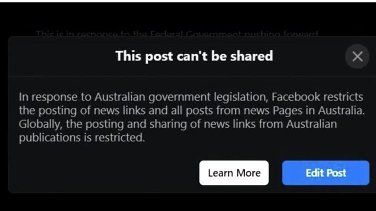 A still from a Reuters video showing the message Australian Facebook users are getting when they try to share news stories