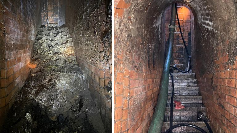 The fatberg was blasted and chipped away over two weeks