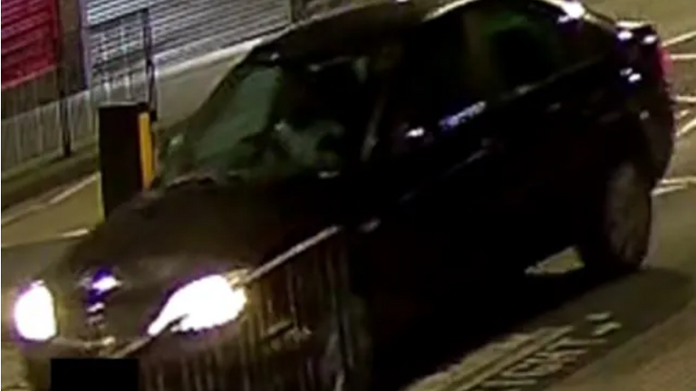 Met police appealing for info about a black Ford Mondeo, using registration number YR54 NHN – which was seen on CCTV driving away from a murder scene and found burnt out in Silver Jubilee Park, NW9 on Friday 19 February. Pic: Met police