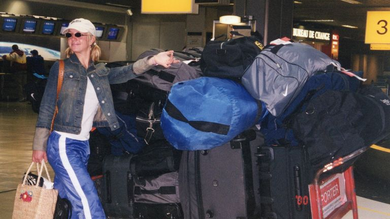 The New York Times presents Framing Britney Spears - the star poses with a pile of luggage on her way home from a tour in December 2000. Pic: FX Networks