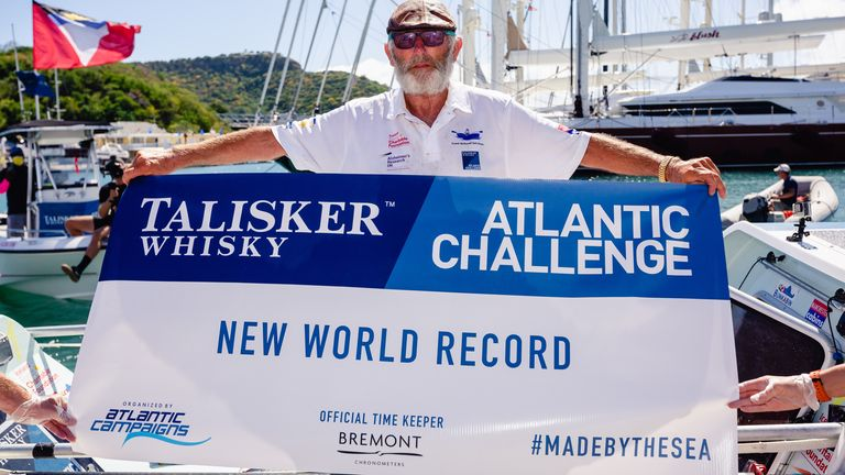 File handout photo dated 06/02/21 issued by Alzheimers Research UK of Frank Rothwell, 70, from Oldham who has become the oldest person to row 3,000 miles unassisted across the Atlantic Ocean Ð raising more than £640,000 for dementia research after crossing the finishing line of the Talisker Whisky Atlantic Challenge in Antigua. Issue date: Sunday February 7, 2021.