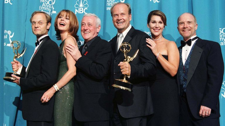 The cast pose with their Emmy Awards  in 1998
