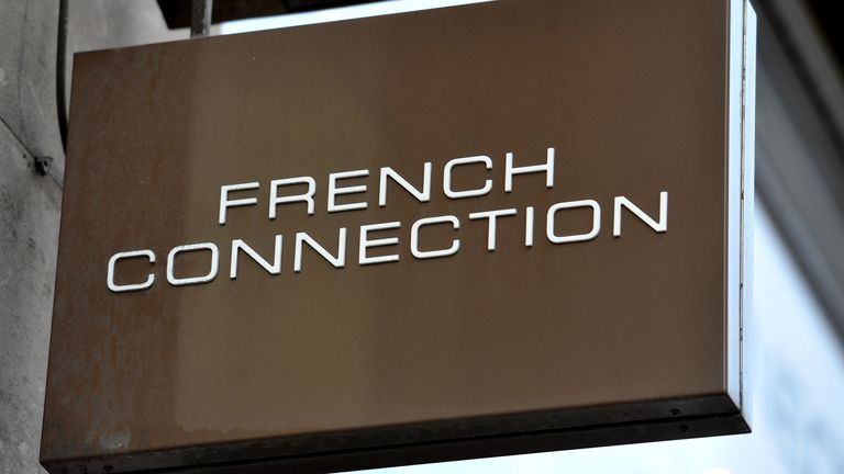 A shop sign for French Connection in central London.