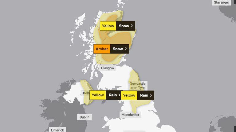 Friday's weather warnings. Pic: Met Office