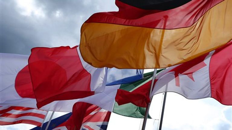 The flags of the G7 countries wave in Elmau, Germany, 07 June 2015. Heads of state and government of the seven leading industrialized nations (G7) are scheduled to meet in Elmau Castle, Bavaria, on 07 and 08 June to discuss foreign and security policy. Photo by: Karl-Josef Hildenbrand/picture-alliance/dpa/AP Images