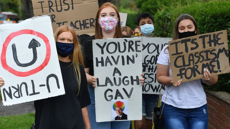 Students from Codsall Community High School march to the constituency office of their local MP Gavin Williamson, who is also the Education Secretary, as a protest over the continuing issues of last week's A level results which saw some candidates receive lower-than-expected grades after their exams were cancelled as a result of coronavirus