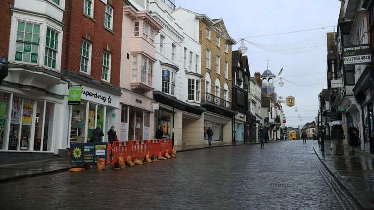 The deserted High Street in Guildford, Surrey, the morning after Prime Minister Boris Johnson set out further measures as part of a lockdown in England in a bid to halt the spread of coronavirus.