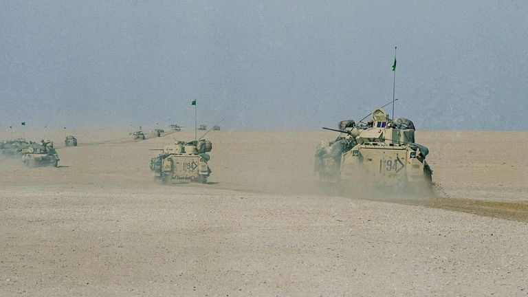 Tanks advancing into Kuwait in the 1991 Gulf War