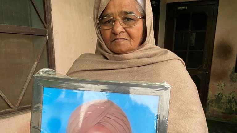 Jaspal Kaur, widow of Gurmeet Singh who died of a heart attack in India's farmers' protests