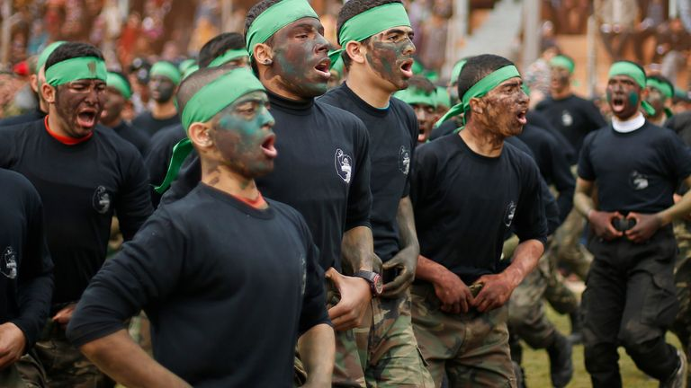 Palestinian students at a graduation ceremony for a military-style training programme in Gaza City January 2014