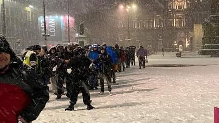 Hundreds queue for a soup kitchen in Glasgow amid freezing conditions. Pic: Kindness Homeless Street Team