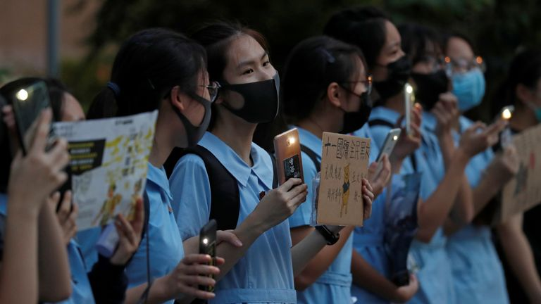 Anti-government students gather for protests after school in Lok Fu, Hong Kong