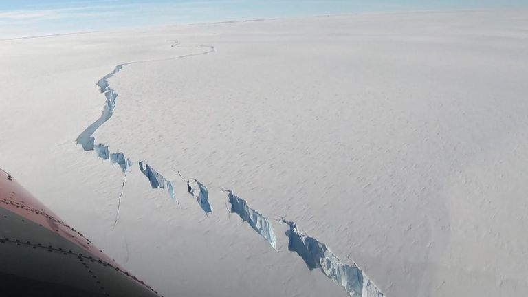 Brunt Ice Shelf - North Rift flyover