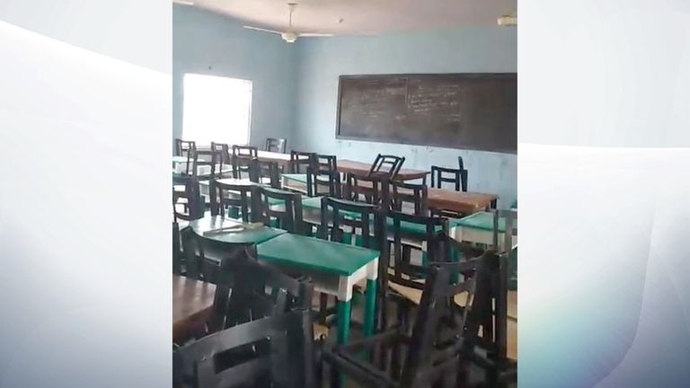 An empty classroom at the school where 317 students were abducted. Pic: TheCable