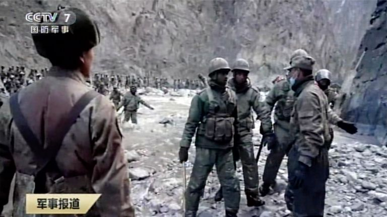 Indian and Chinese troops face off in the Galwan Valley