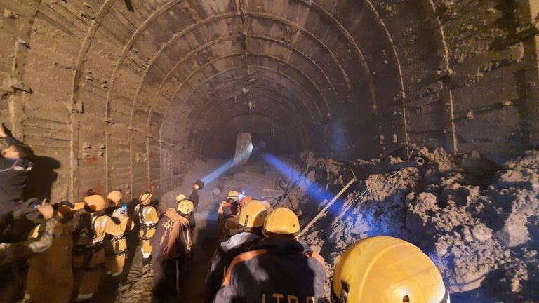 Rescuers are searching for dozens of people trapped in a tunnel. Pic: Indo-Tibetan Border Police