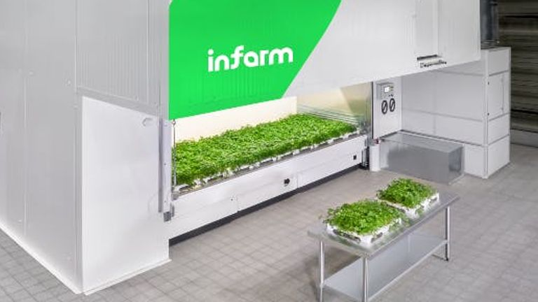 Infarm's interests include sustainable high-capacity and cloud-connected growing centres. Pic: Infarm